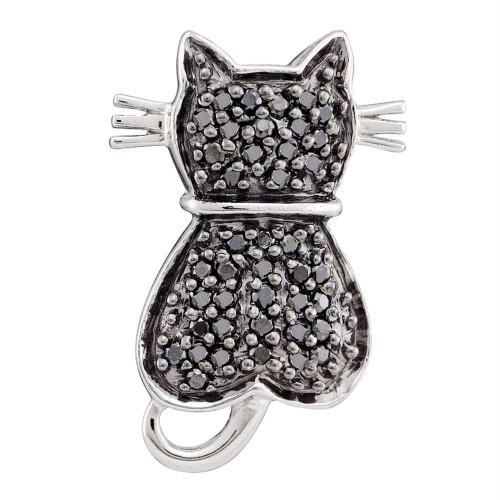 14kt White Gold Womens Round Black Color Enhanced Diamond Kitty Cat Feline Pendant 1/4 Cttw