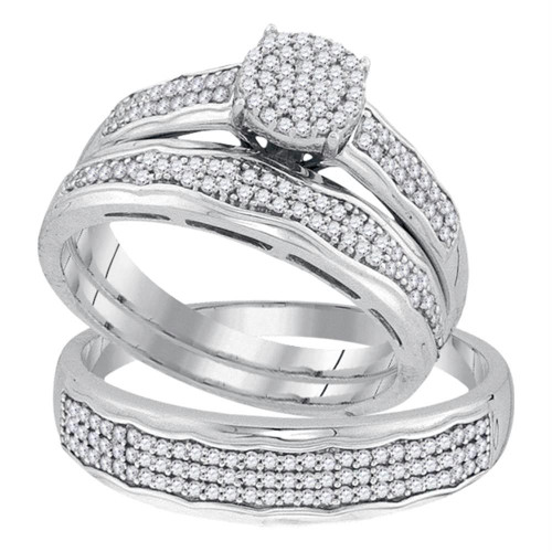 10kt White Gold His & Hers Round Diamond Cluster Matching Bridal Wedding Ring Band Set 1/2 Cttw - 92081-8.5