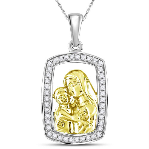 Sterling Silver Womens Round Diamond Mom Mother Child Frame Pendant 1/4 Cttw