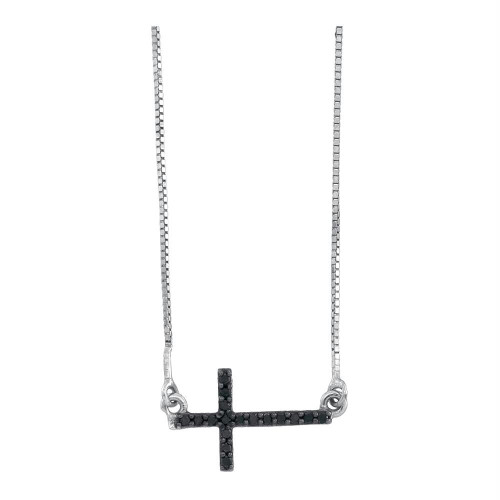 10k White Gold Black Color Enhanced Diamond Womens Small Horizontal Christian Cross Pendant 1/10 Cttw