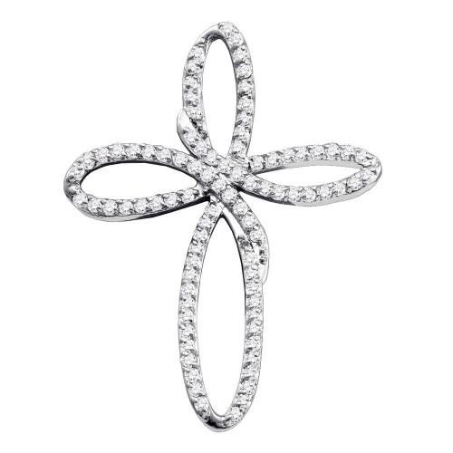 10k White Gold Diamond Womens Christian Cross Religious Open-center Pendant 1/4 Cttw