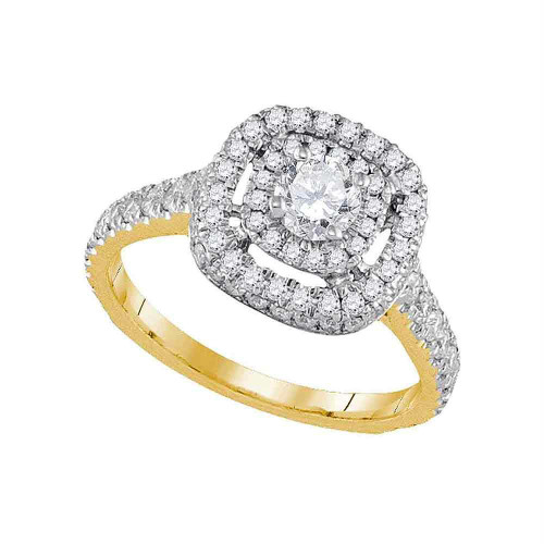 14kt Yellow Gold Womens Round Diamond Solitaire Bridal Wedding Engagement Ring 1-1/5 Cttw