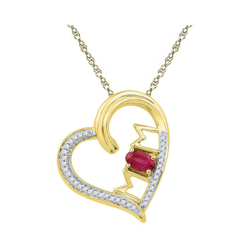 10k Yellow Gold Womens Lab-created Ruby & Diamond Heart Mom Mother Love Pendant 5/8 Cttw