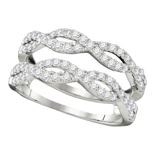 14kt White Gold Womens Round Diamond Ring Guard Wrap Solitaire Enhancer 3/4 Cttw - 110609-7