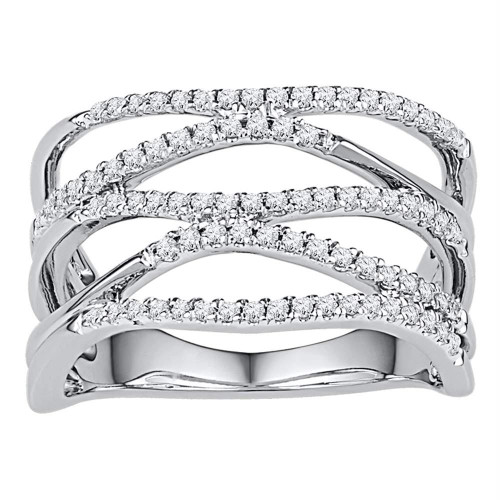 10kt White Gold Womens Round Diamond Crossover Band Ring 3/8 Cttw - 108876-9
