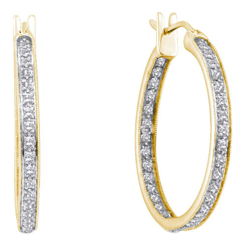 14kt Yellow Gold Womens Round Diamond Inside Outside Hoop Earrings 1/4 Cttw