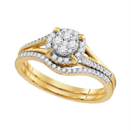 10k Yellow Gold Round Diamond Cluster Bridal Wedding Engagement Ring Band Set 1/3 Cttw