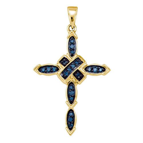 10kt Yellow Gold Womens Round Blue Color Enhanced Diamond Cross Pendant 1/5 Cttw