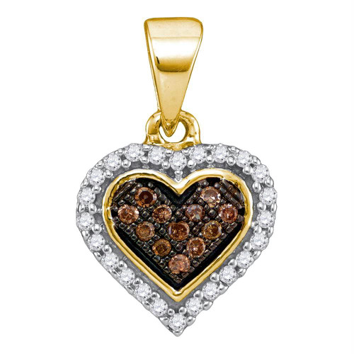 10kt Yellow Gold Womens Round Cognac-brown Color Enhanced Diamond Heart Cluster Pendant 1/8 Cttw