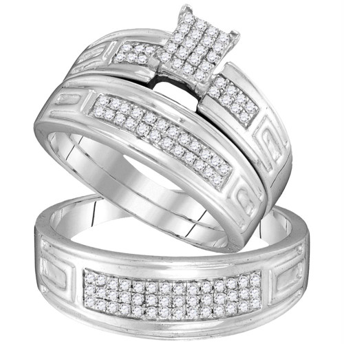 10kt White Gold His & Hers Round Diamond Cluster Matching Bridal Wedding Ring Band Set 1/2 Cttw - 104095-8.5