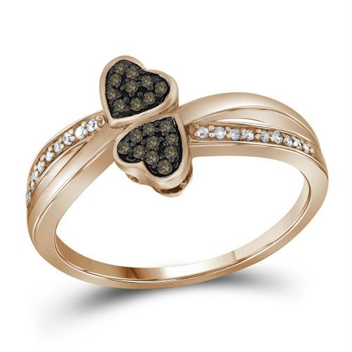 10kt Rose Gold Womens Round Cognac-brown Color Enhanced Diamond Heart Love Ring 1/10 Cttw