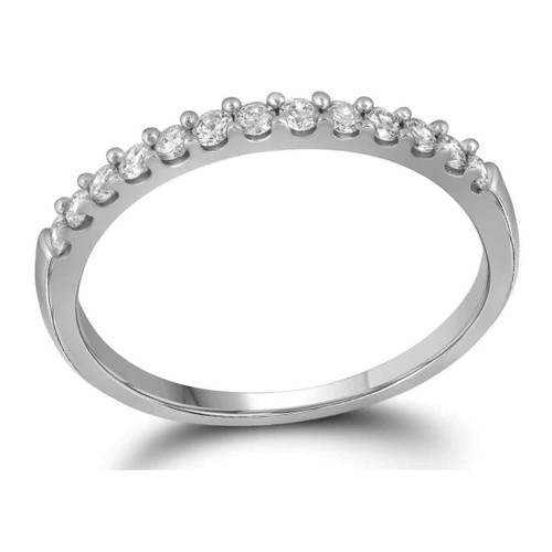 10kt White Gold Womens Round Pave-set Diamond Wedding Band 1/6 Cttw