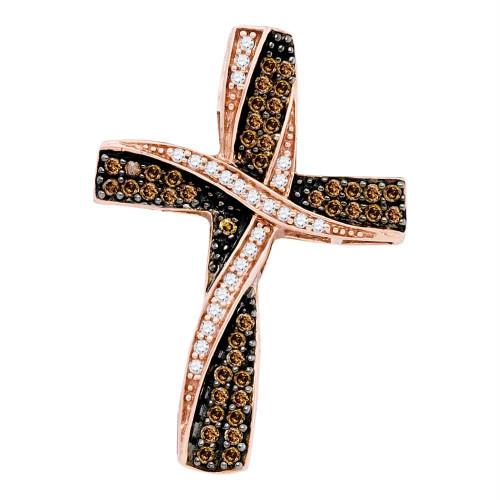 10kt Rose Gold Womens Round Cognac-brown Color Enhanced Diamond Cross Pendant 1/2 Cttw