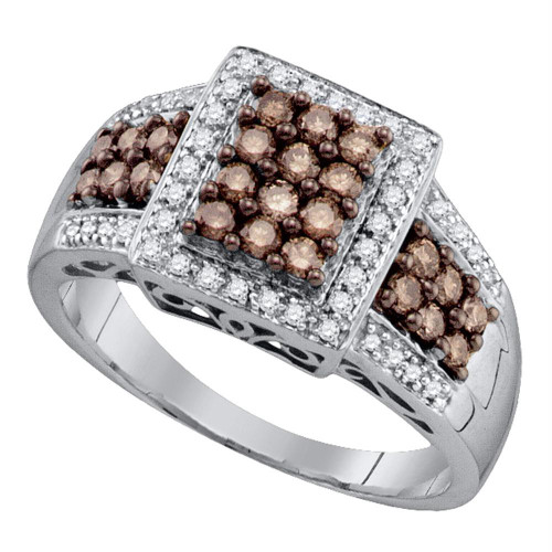 10kt White Gold Womens Round Cognac-brown Color Enhanced Diamond Square Cluster Ring 5/8 Cttw