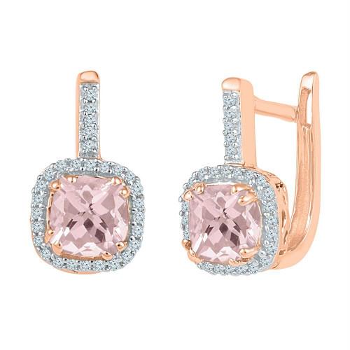10kt Rose Gold Womens Cushion Lab-Created Morganite Hoop Earrings 1.00 Cttw