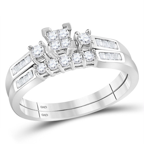 10kt White Gold Womens Princess Diamond Bridal Wedding Engagement Ring Band Set 3/8 Cttw - 80939