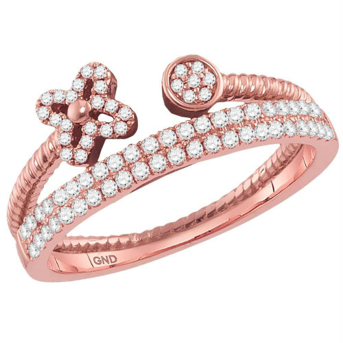 10kt Rose Gold Womens Round Diamond Flower Bisected Stackable Band Ring 1/5 Cttw