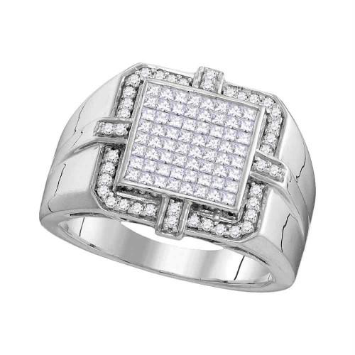 10kt White Gold Mens Princess Diamond Square Frame Cluster Ring 1.00 Cttw