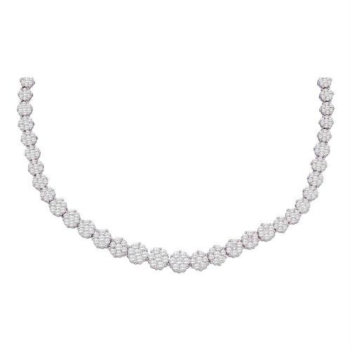14kt White Gold Womens Round Diamond Flower Cluster Luxury Necklace 10.00 Cttw