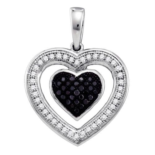 10k White Gold Black Color Enhanced Diamond Womens Heart Love Anniversary Pendant 1/5 Cttw