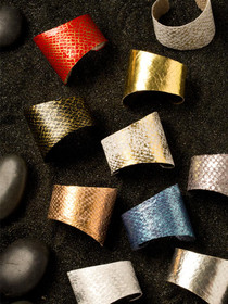 Adjustable Fish Leather Cuff Bracelets by Moonrise Jewelry