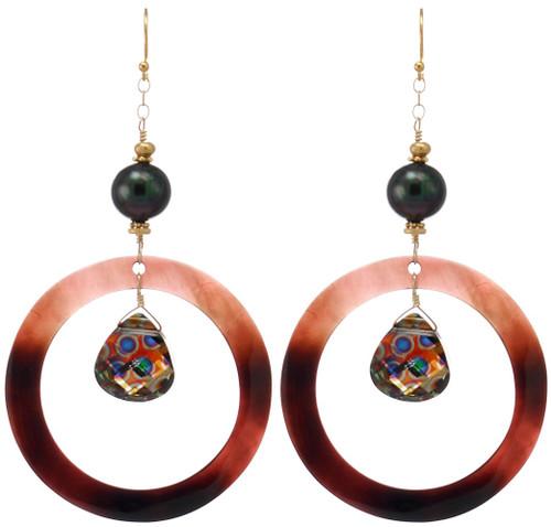 Cocoa Beach Earrings- Peacock