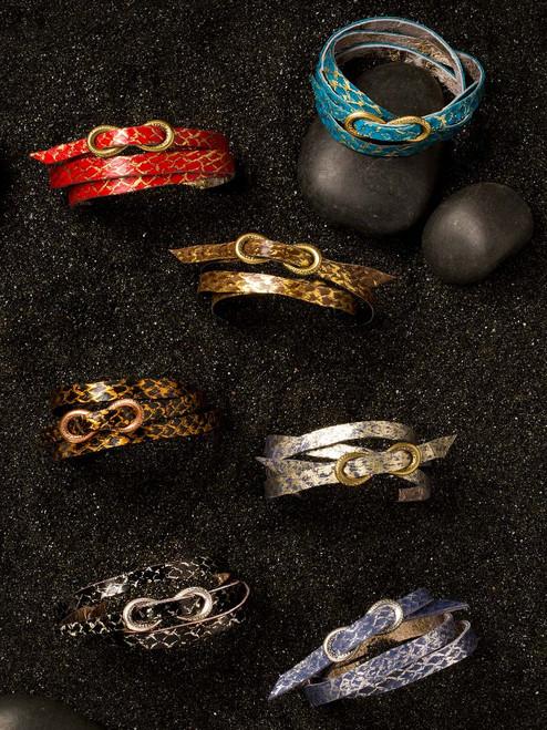 Reversible Fish Leather Wrap Bracelets