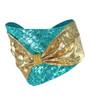 Aqua + Gold Bow