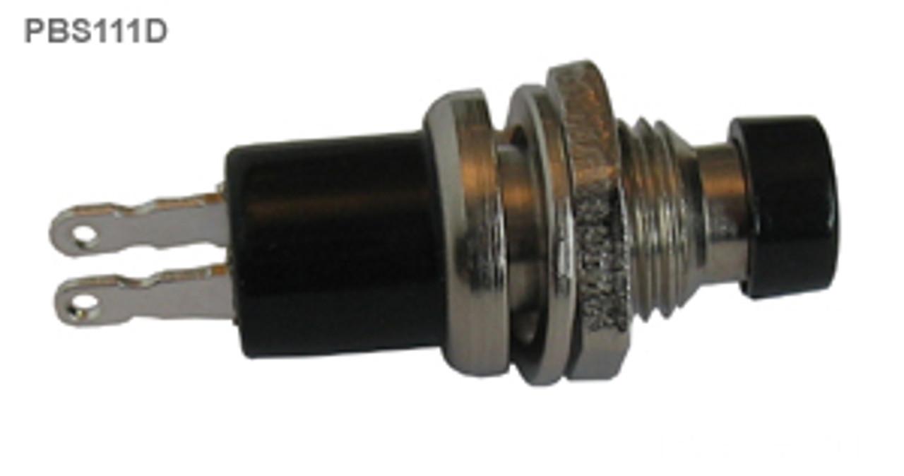 Mini Push Button Switch, Black, Closed, SPST