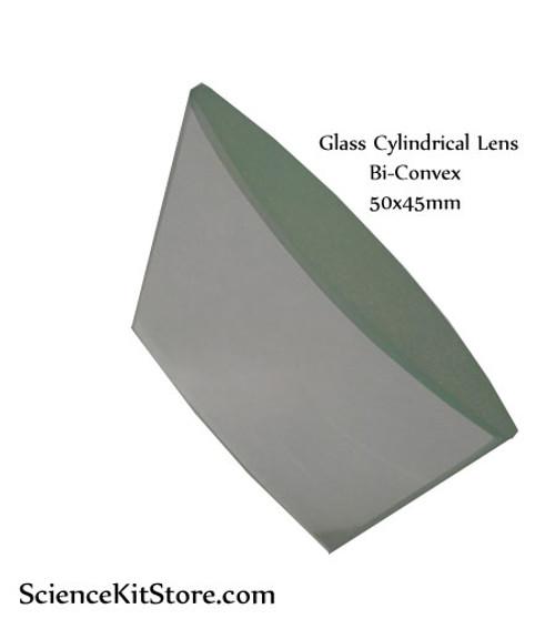 Glass Cylindrical Lens, Bi-Convex 50x45mm FL 72mm