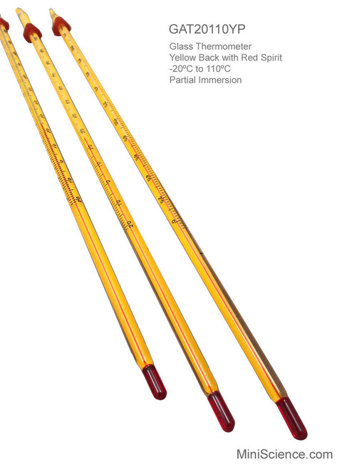 Glass Thermometer, Yellow with Red Spirit, -20ºC to 110ºC