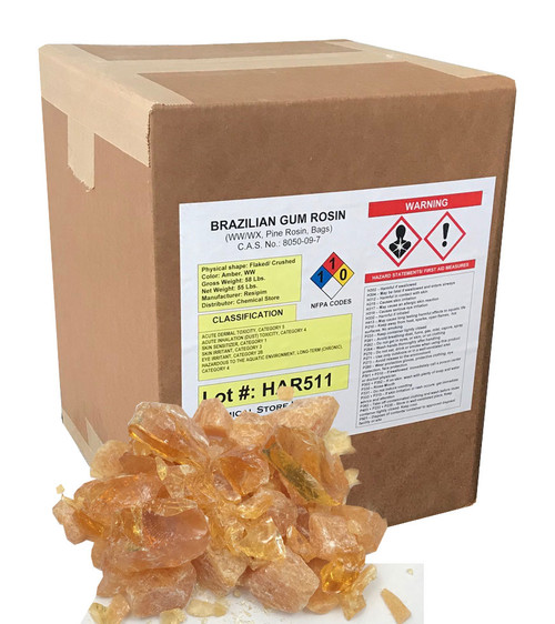 Brazilian gum rosin (Pine rosin) in 55-lb boxes
