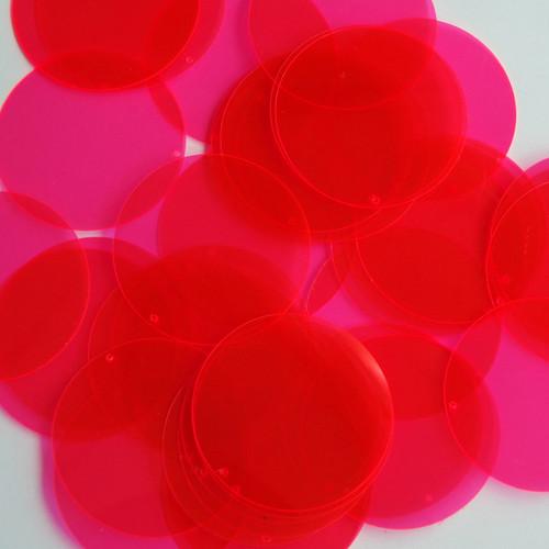 """1.5"""" Sequins Pink Transparent See-Thru Fluorescent"""
