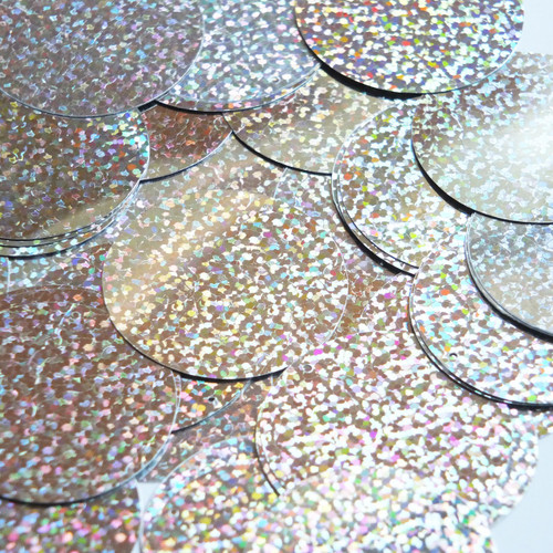 "1.5"" Sequins Silver Hologram Glitter Sparkle Metallic"