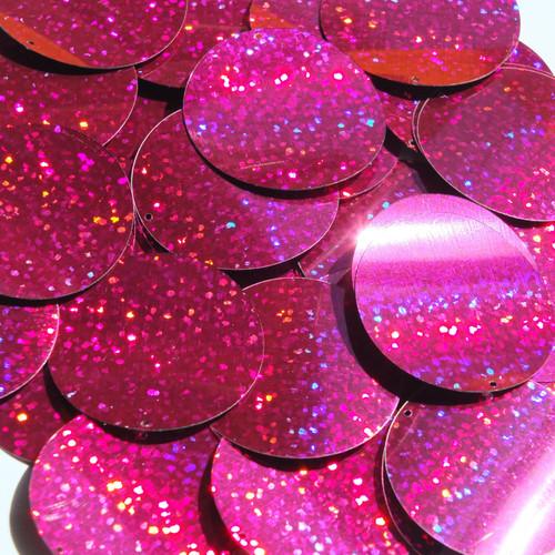"1.5"" Sequins Fuchsia Pink Hologram Glitter Sparkle Metallic"