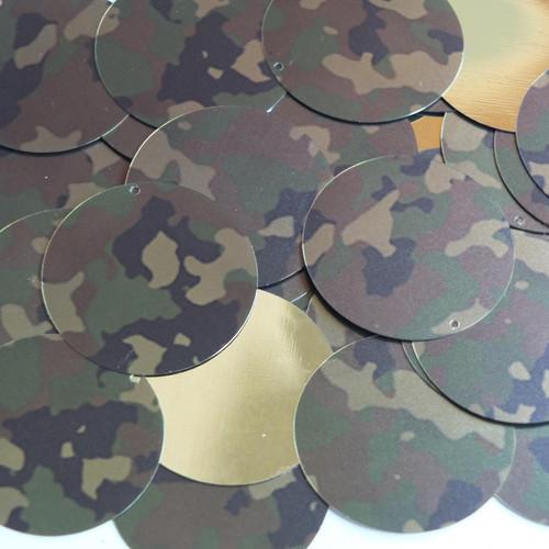 "1.5"" Sequins Camo Brown Green Camouflage Metallic"