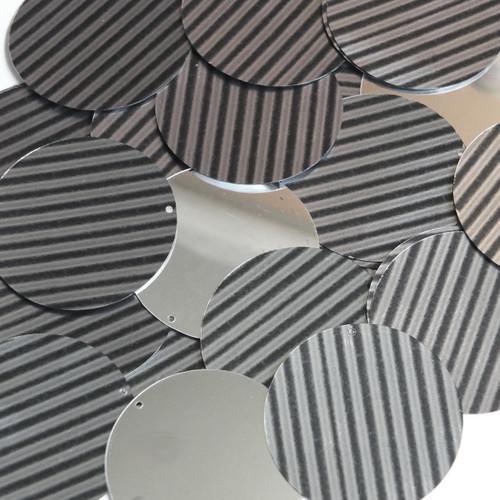 "1.5"" Sequins Black Gray Corrugated Stripe Metallic"