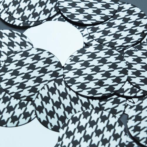 "1.5"" Sequins Black Silver Houndstooth Pattern Metallic"