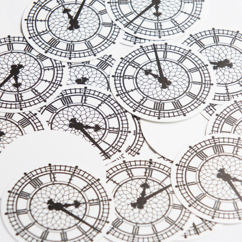 """1.5"""" Sequins Clock Face Roman Numeral Black and White Opaque"""