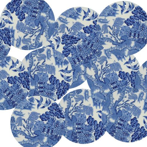 """1.5"""" Sequins Blue Willow China Pattern Opaque"""
