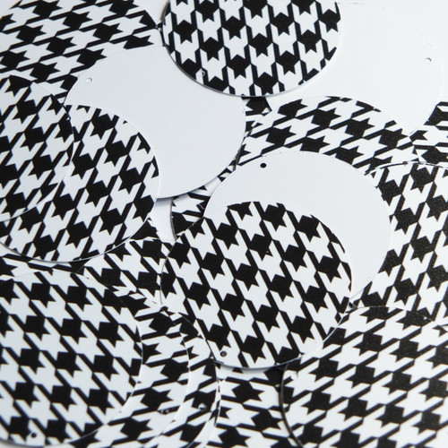 """1.5"""" Sequins Black White Houndstooth Pattern Opaque"""