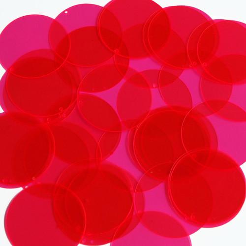"1.5"" Sequins Magenta Pink Transparent See-Thru"
