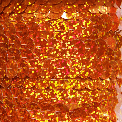 Sequin Trim 10mm Orange Hologram Glitter Sparkle Metallic