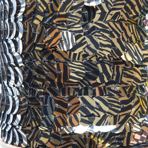 Sequin Trim 10mm Gold Black Tiger Stripe Metallic