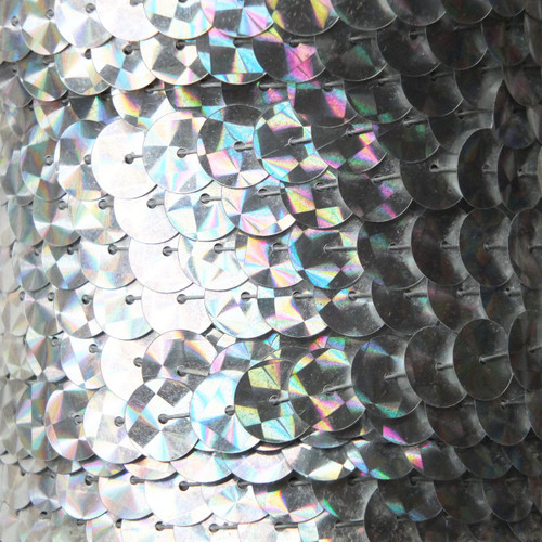Sequin Trim 10mm Silver Prism Metallic