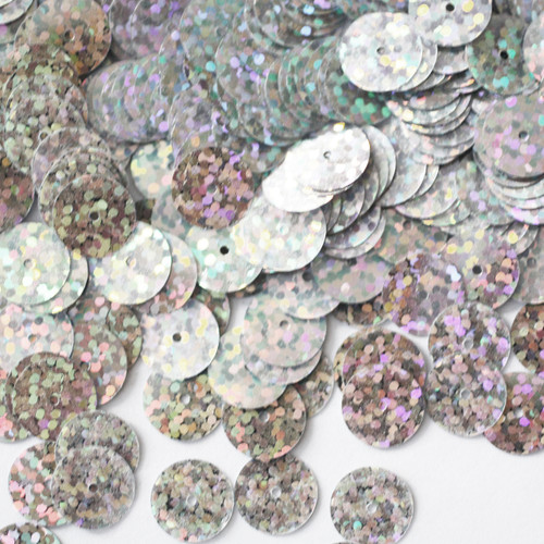 10mm Sequins Silver Hologram Glitter Sparkle Metallic