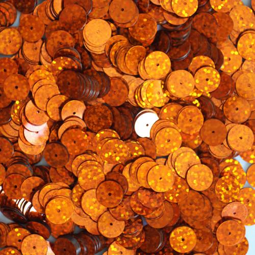 10mm Sequins Orange Hologram Glitter Sparkle Metallic