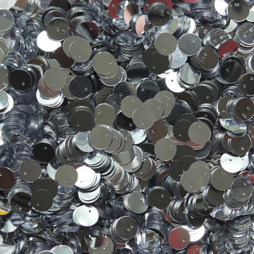 10mm Sequins Silver Metallic Top Hole