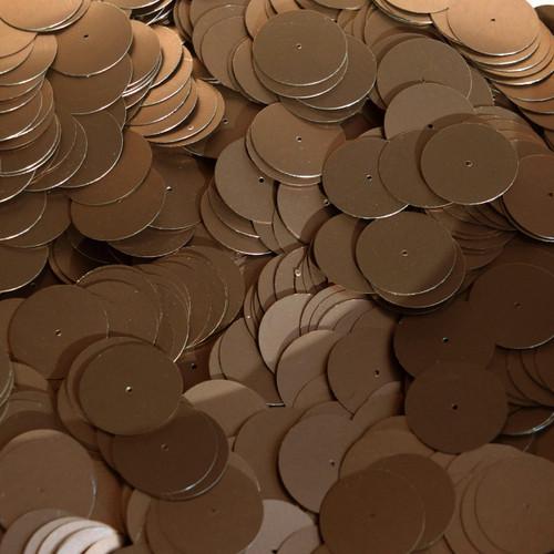 20mm Sequins Center Hole Bronze Brown Matte Silk Frost