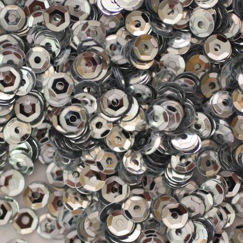 4mm Cup Sequins Silver Metallic